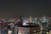 Night view at Tokyo city downtown from above, Japan