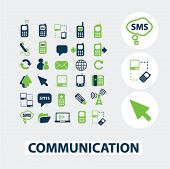 communication, technology icons set, vector