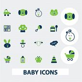 baby, children icons set, vector