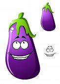 Colorful purple cartoon eggplant vegetable