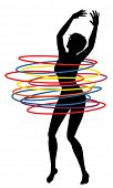 Editable vector illustration of a sexy woman exercising with many hula hoops