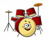 Drum set having a big happy laughing smile