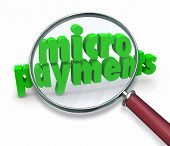 Micropayments Magnifying Glass Online Store Sending Money