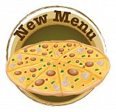 Illustration of a new menu label with a pizza on a white background