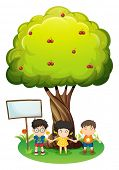 Illustration of the kids under the tree beside the empty wooden board on a white background