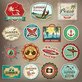 picture of holiday symbols  - Collection of vintage retro grunge summer labels - JPG