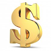Golden dollar currency sign on white isolated background. 3d