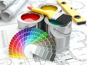 Construction. Cans of paint with colour palette and paintbrush. 3d