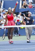 Grand Slam champion Serena Williams celebrates victory after fourth round match at US Open 2013