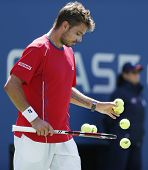 Professional tennis player Stanislas Wawrinka during semifinal match at US Open 2013