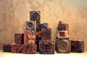 Stacked Antique Printing Blocks