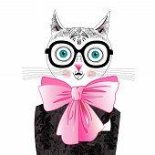 Cat portrait hipster