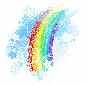 stock photo of paint spray  - rainbow painted with colored chalk on a white background - JPG