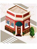 Постер, плакат: Ресторан и магазин Изометрические