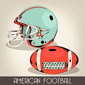 American Football Helmet and Ball