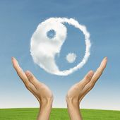 stock photo of karma  - Life balance conccept with Ying yang symbol - JPG