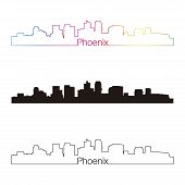 Phoenix Skyline Linear Style With Rainbow