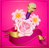 Party Flyer Or Poster Template With Microphone And Flowers