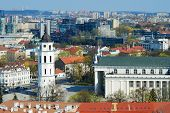 image of pubic  - Cathedral pubic domain square area in the center of the old European Vilnius city in Lithuania - JPG