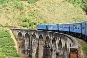 Train on bridge in hill country of Sri Lanka
