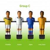 Table football / foosball players. Group C - Colombia, Greece, Japan, Ivory Coast. Vector.