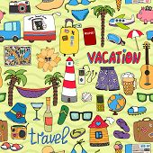 pic of caravan  - Seamless vector background tropical vacation and travel pattern with colorful icons depicting swimsuits lighthouse  hammock  palms  sunglasses  caravan  map  beer  wine  piggy bank  clothing - JPG