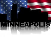 Minneapolis skyline and text reflected with rippled American flag illustration