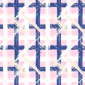 Plaid pattern with wide brushstrokes and stripes