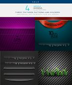 Collection of various vector textures - metal and paper, and dividers for decor