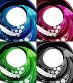 Set of abstract swirl backgrounds - 4 design templates