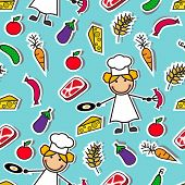Cartoon seamless pattern with chef and food