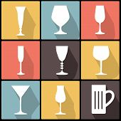 Icons With Stemware In Flat Design