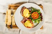 stock photo of benediction  - Eggs Benedict breakfast - JPG