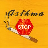 World Asthma Day concept with text Stop Asthma and Cigarette on yellow background.
