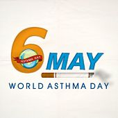 World Asthma Day concept with stylish text 6 May, globe and cigarette on grey background.