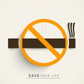 Stop Smoking concept with cigarette on abstract background.