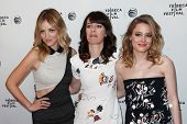 NEW YORK-APR 18: (L-R) Abby Elliot, director Susanna Fogel & Gillian Jacobs attend the