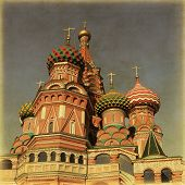 Saint Basil's Cathedral, at Red Square, Moscow, Russia. Image in retro and grunge style.