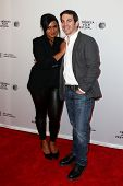 NEW YORK-APR 18: Actress Mindy Kaling and director Chris Messina (R) attend the