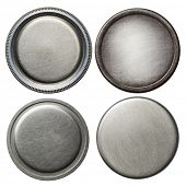 Round metal buttons, isolated