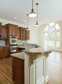 Model Luxury Home Interior Kitchen Counter Arch Window