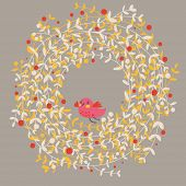 Stylish floral card in vector. Spring wallpaper with cute birds.