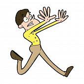 cartoon man running away