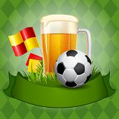 Background with Beer and Soccer Ball