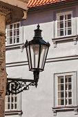 Old street lamp in Prague street, Czech Republic