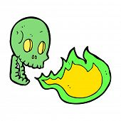 cartoon fire breathing skull