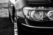Headlights Of Bmw 750Li E66 In Bw