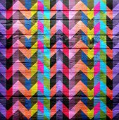 Colorful chevron pattern vintage wood background