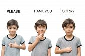 foto of nonverbal  - Please thank you sorry kid hand sign language on white background - JPG