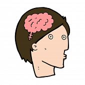 cartoon man with brain symbol